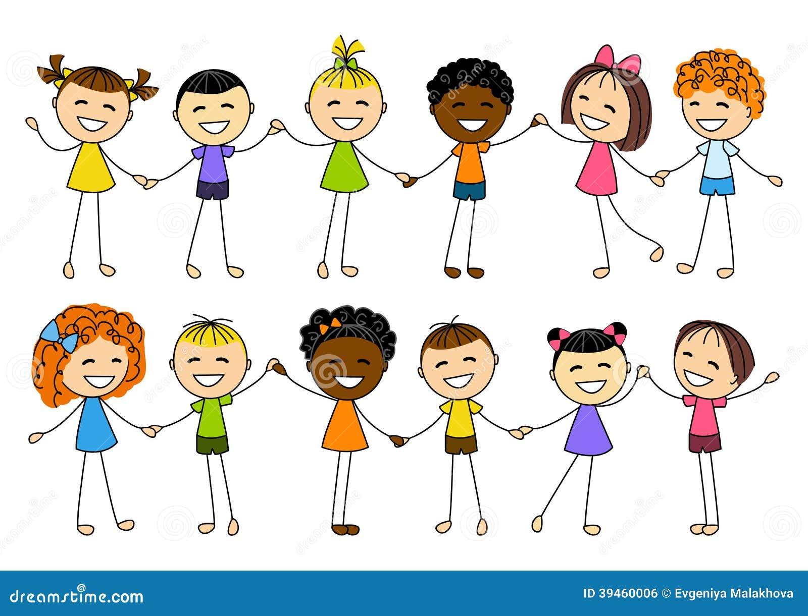 Tenersi Per Mano Sveglio Dei Bambini Illustrazione Vettoriale