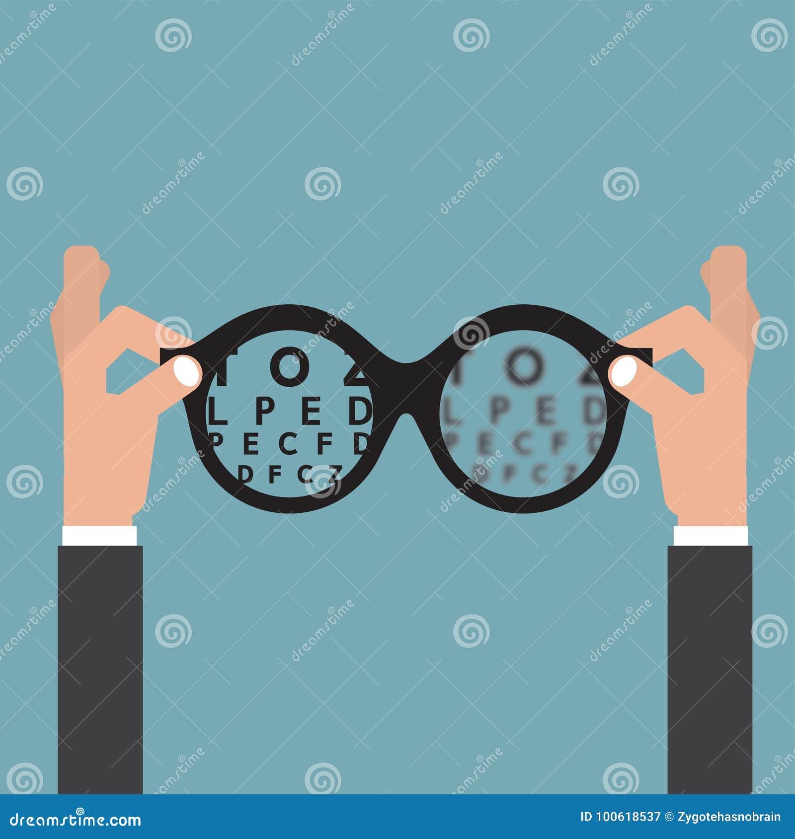 Tenez L'opticien En Verre De Mains, Vision