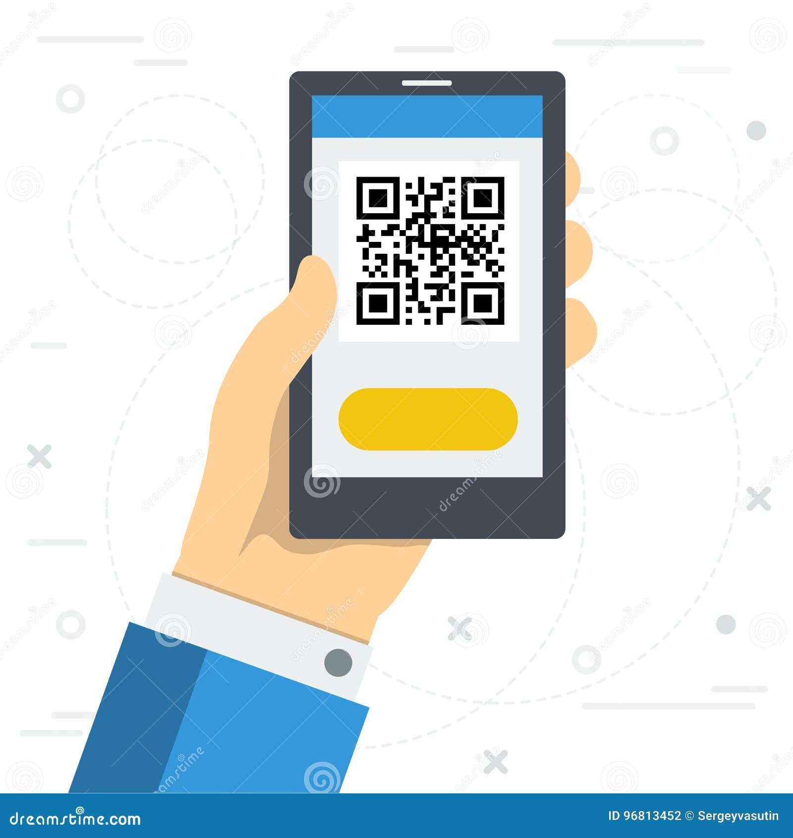 c4dc3b21511 Ejemplo cuadrado del vector en estilo plano Mano con el teléfono usando el  escáner de código de QR Concepto de fácil acceso a los sitios web