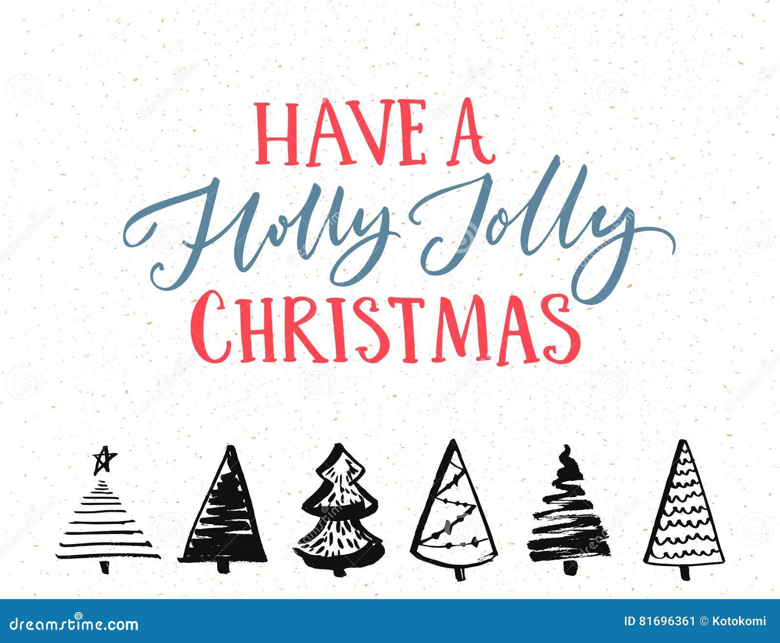 Tenga Holly Jolly Christmas Plantilla Del Vector De La Tarjeta De ...