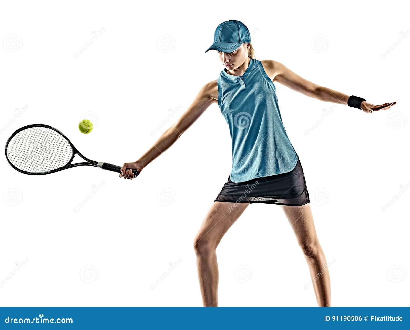 Tenisowej kobiety odosobniona sylwetka