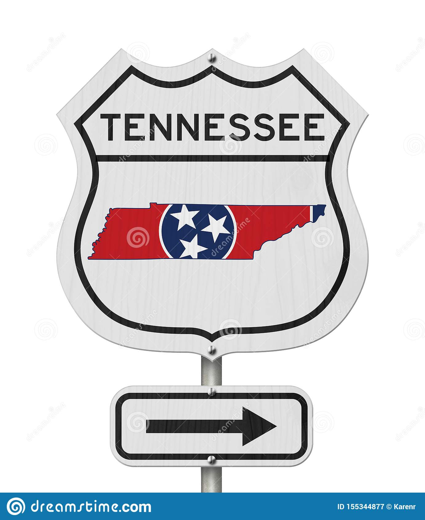 Tennessee Map And State Flag On A USA Highway Road Sign ...