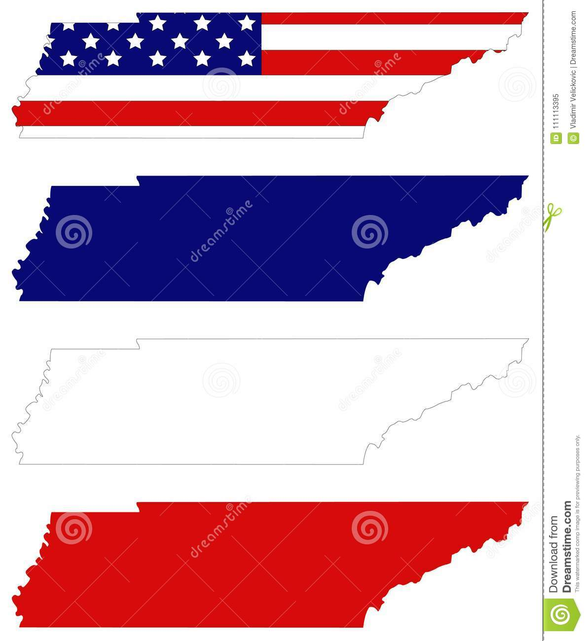 Tennessee Map With USA Flag - State In The Southeastern Region Of ...