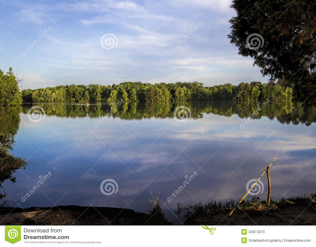 Tennessee river and fishing pole stock image image 34974373 for River fishing pole