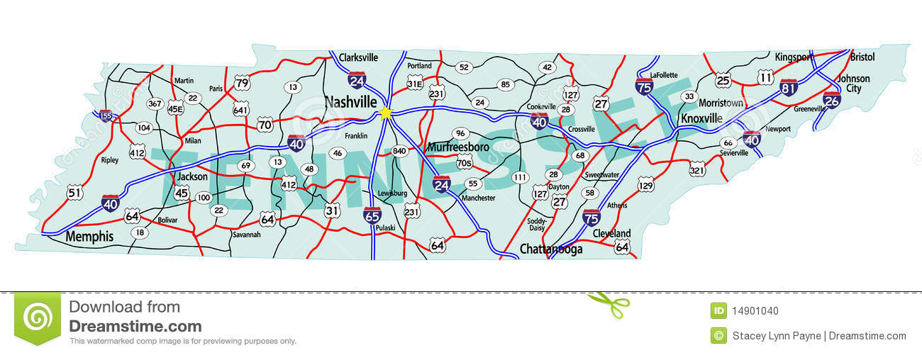 Tennessee State Interstate Map Stock Photo Image 14901040