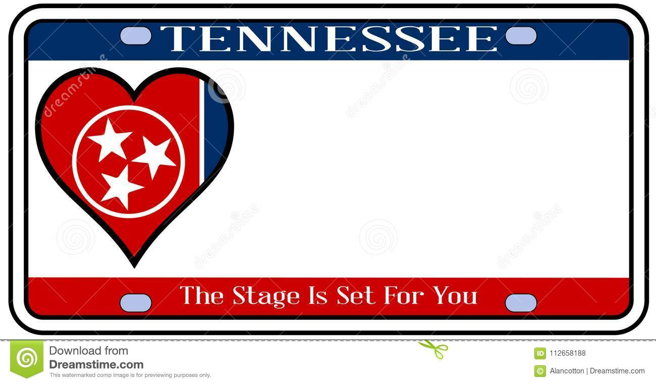 Tennessee State License Plate Stock Vector - Illustration of star ...