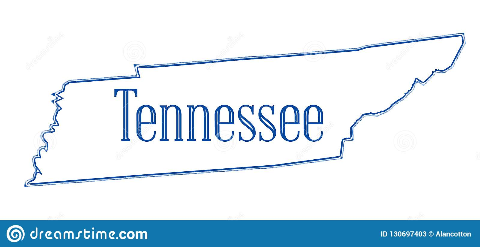 Tennessee State Outline Map Stock Illustration - Illustration of ...