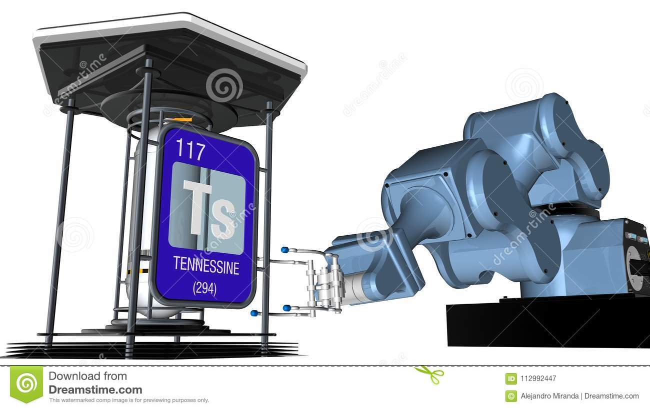 Tennessine symbol in square shape with metallic edge in front of a mechanical arm that will hold a chemical container. 3D render.