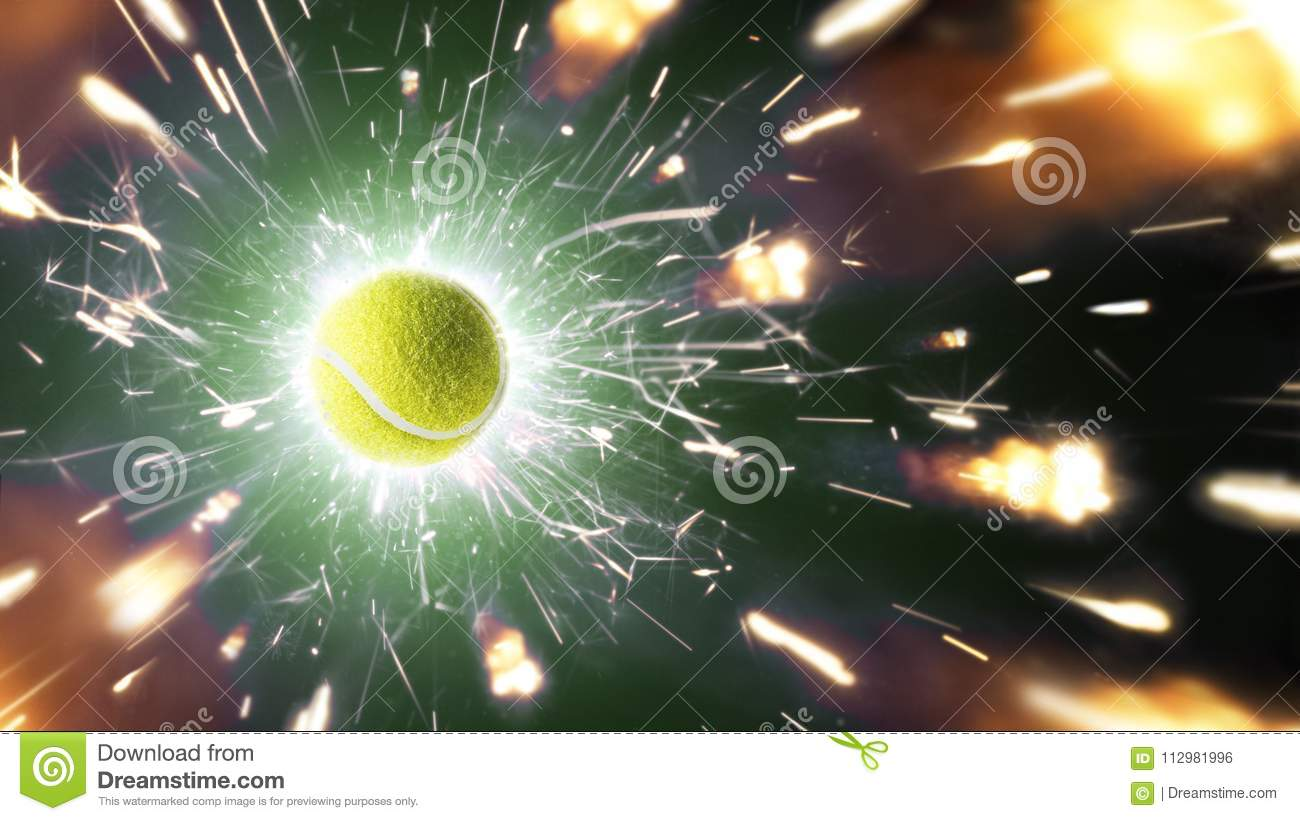 Tennis. Tennis ball. Tennis background with fiery sparks in action