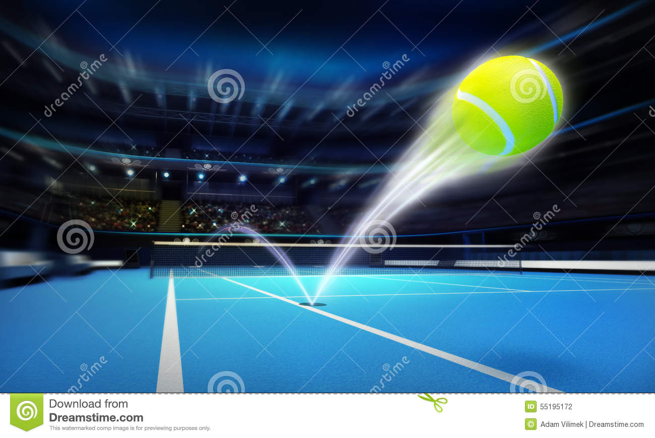 tennis ball ace strike on a blue court in motion blur. Black Bedroom Furniture Sets. Home Design Ideas