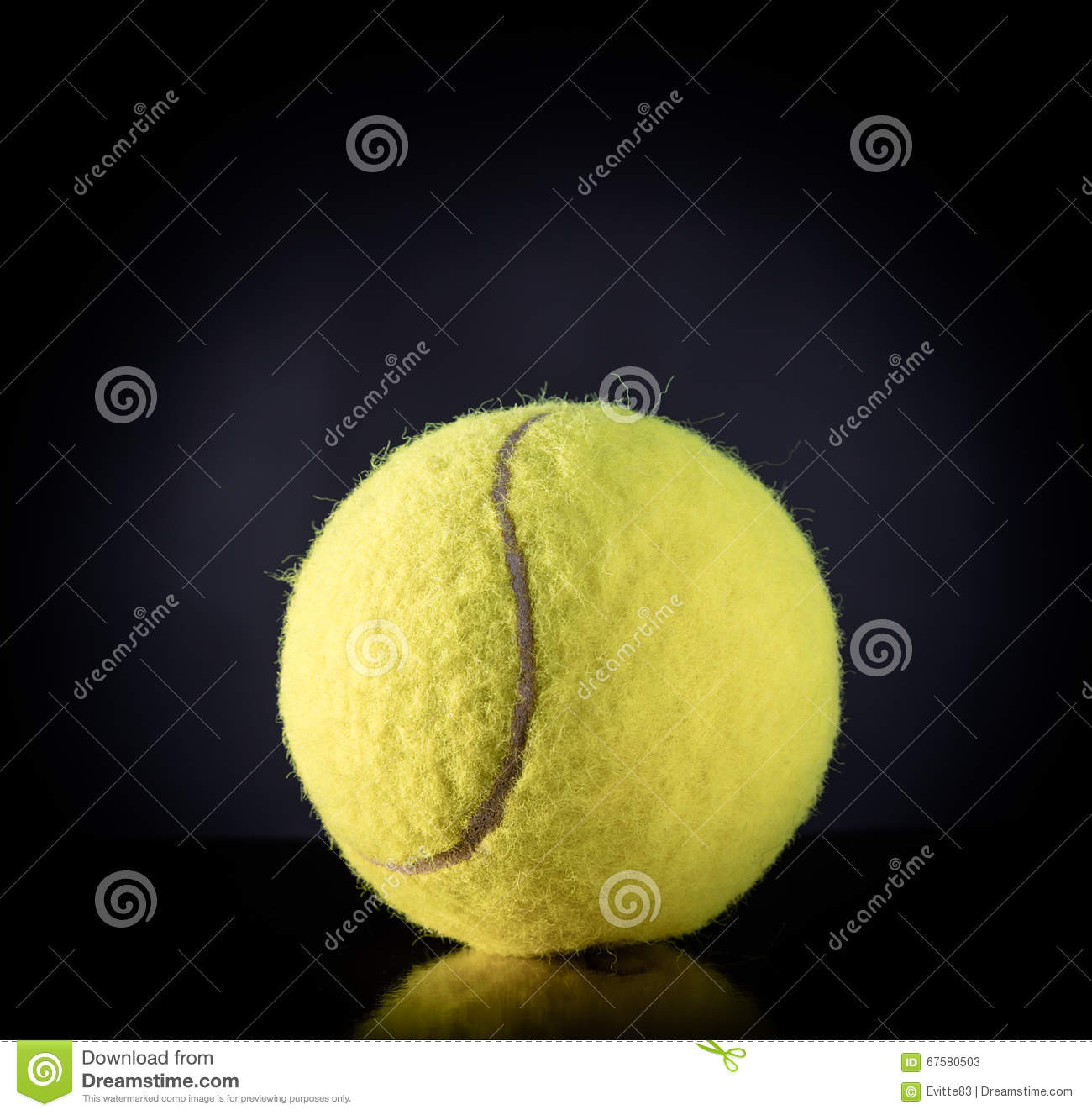 Tennis Ball On Black With Dramatic Lighting Stock Illustration