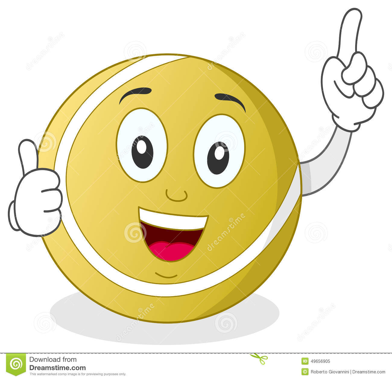 funny cartoon tennis ball character smiling with thumbs up, isolated ...