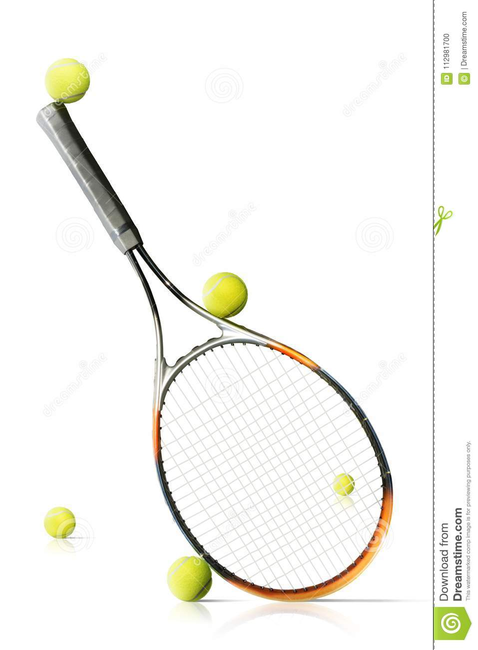 Tennis balls and racket isolated the white background