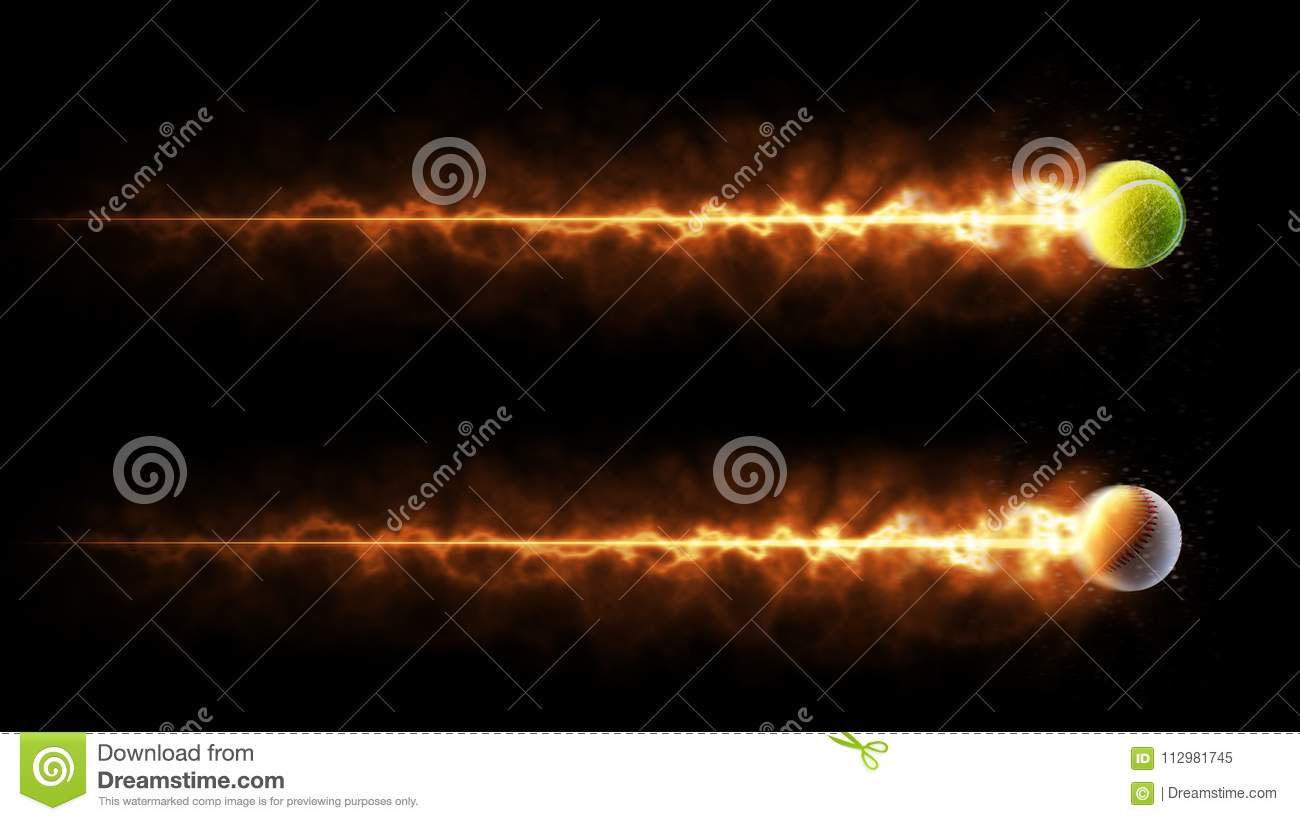 Sport. Tennis and baseball balls. Flying burning balls. Isolated in black background
