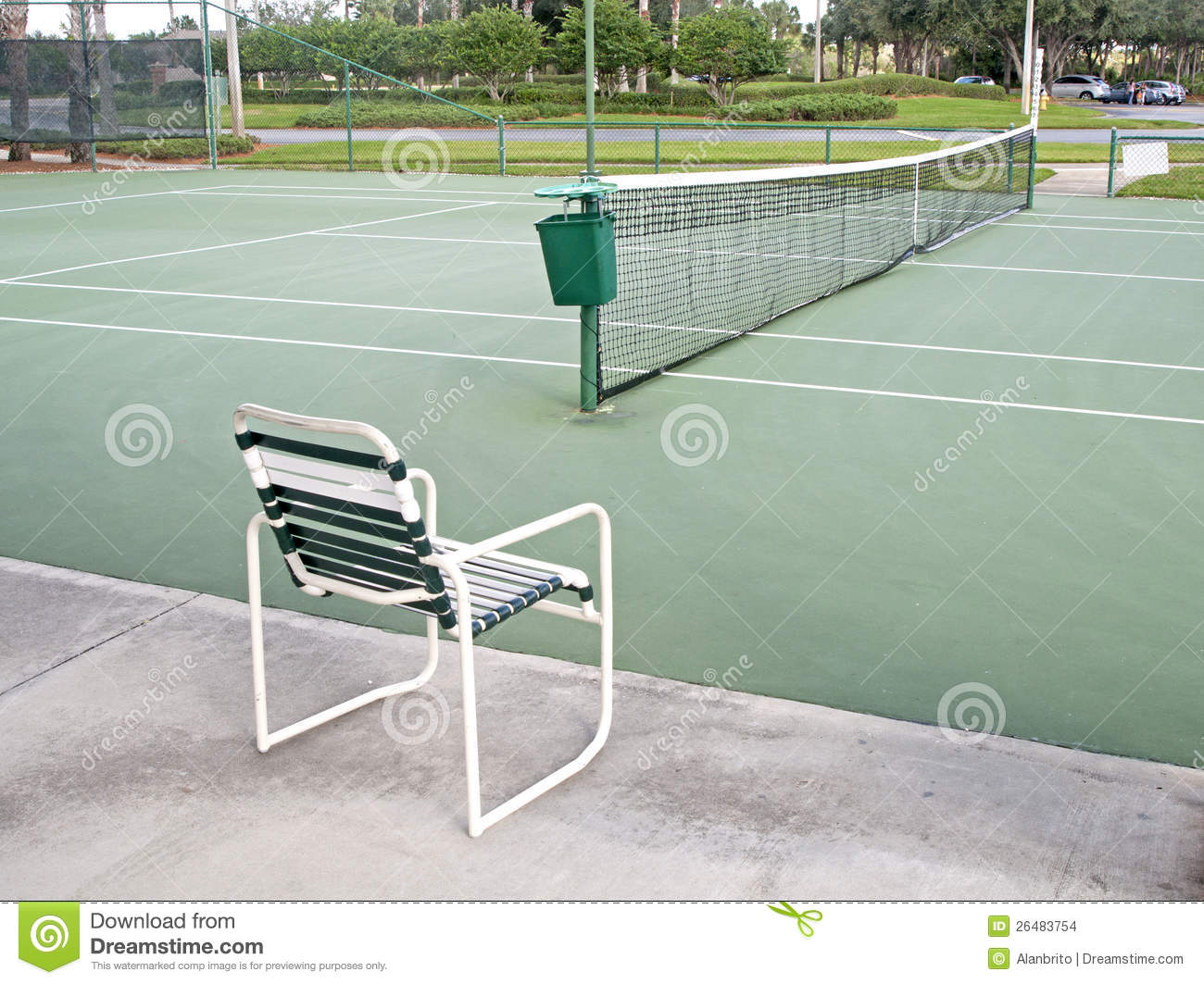 Download Tennis Court And A Chair Stock Photo. Image Of Sunshine   26483754