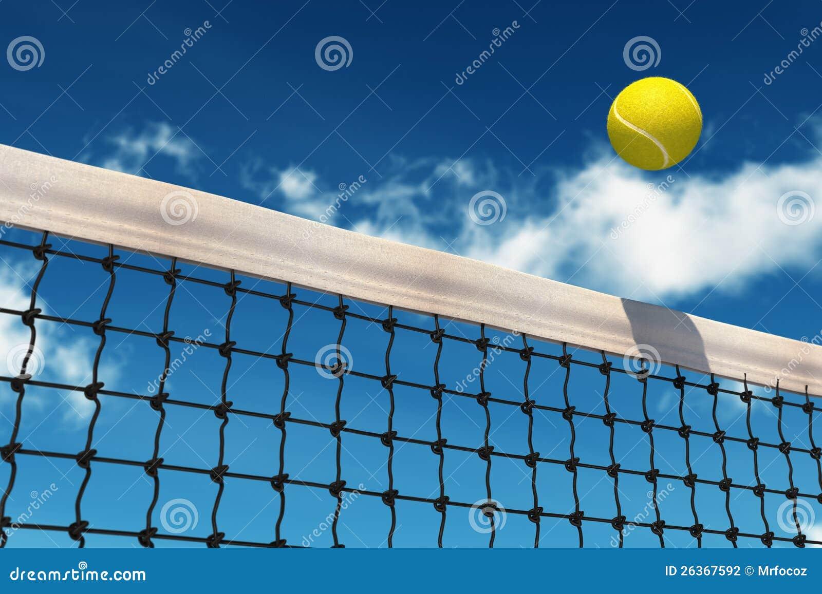Tennis-Kugel über Netz