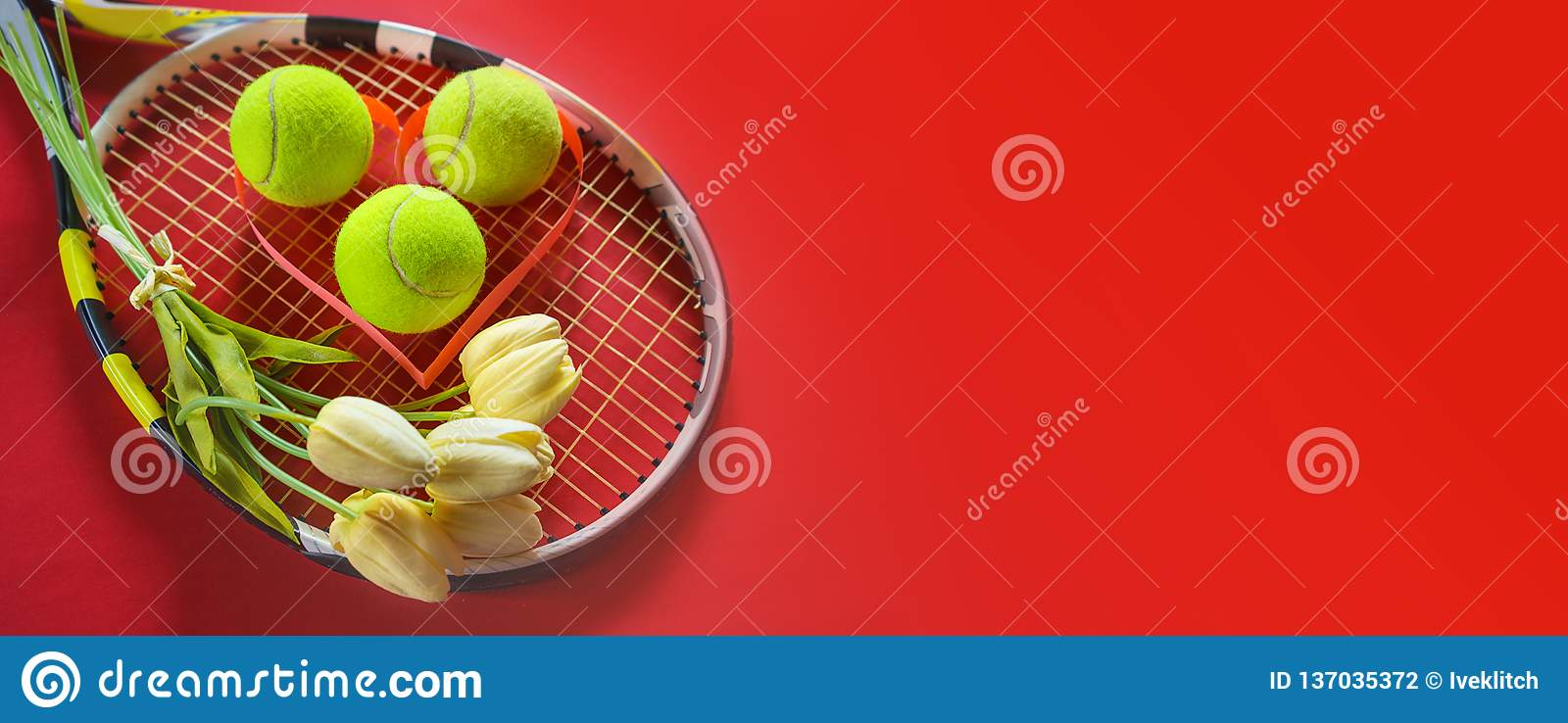 Tennis Love Layout On Red Background With Tennis Racket Balls With Bouquet  White Tulips Flowers. International Women`s Day March Stock Photo - Image  of ball, object: 137035372