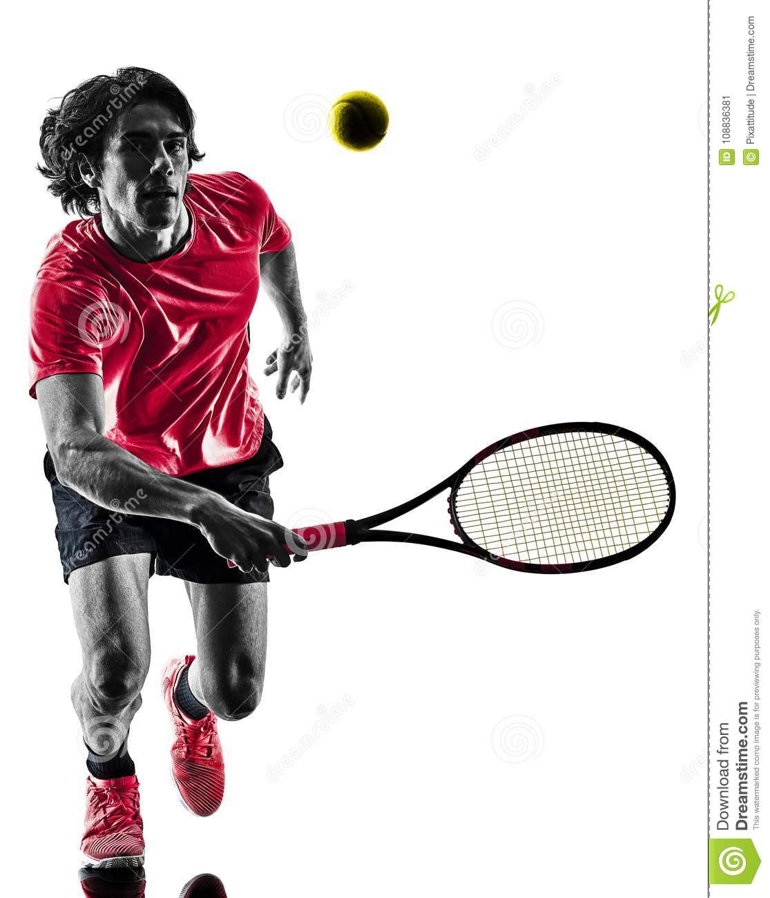 Tennis player man silhouette isolated white background