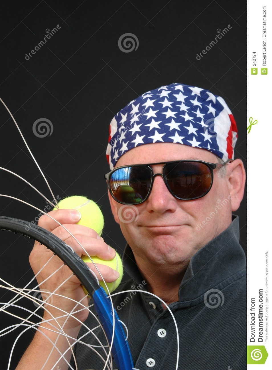 Tennis Player With Racket Loose Strings Stock Photo - Image of power