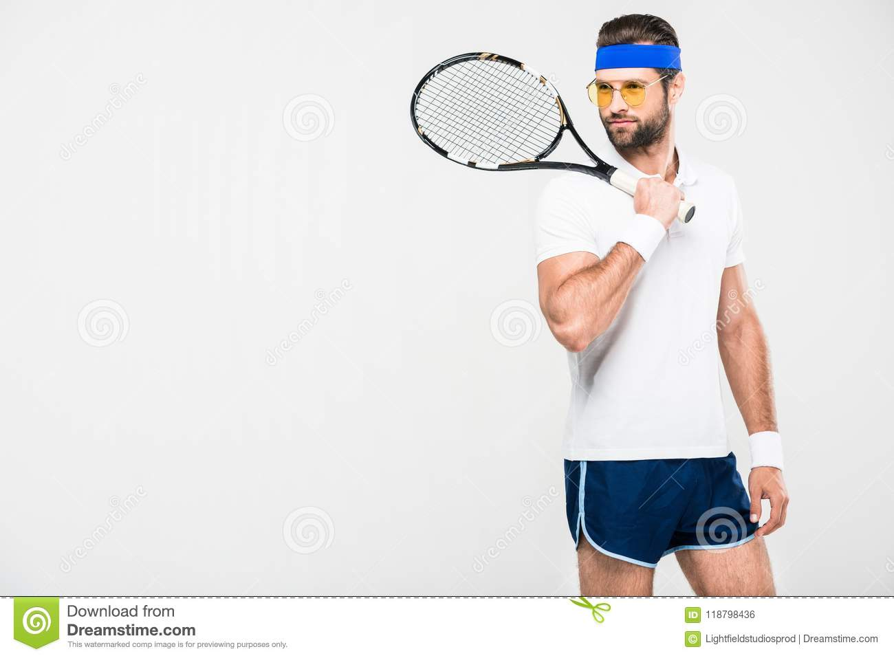 0c7444828fc Tennis Player In Retro Sunglasses Holding Racket