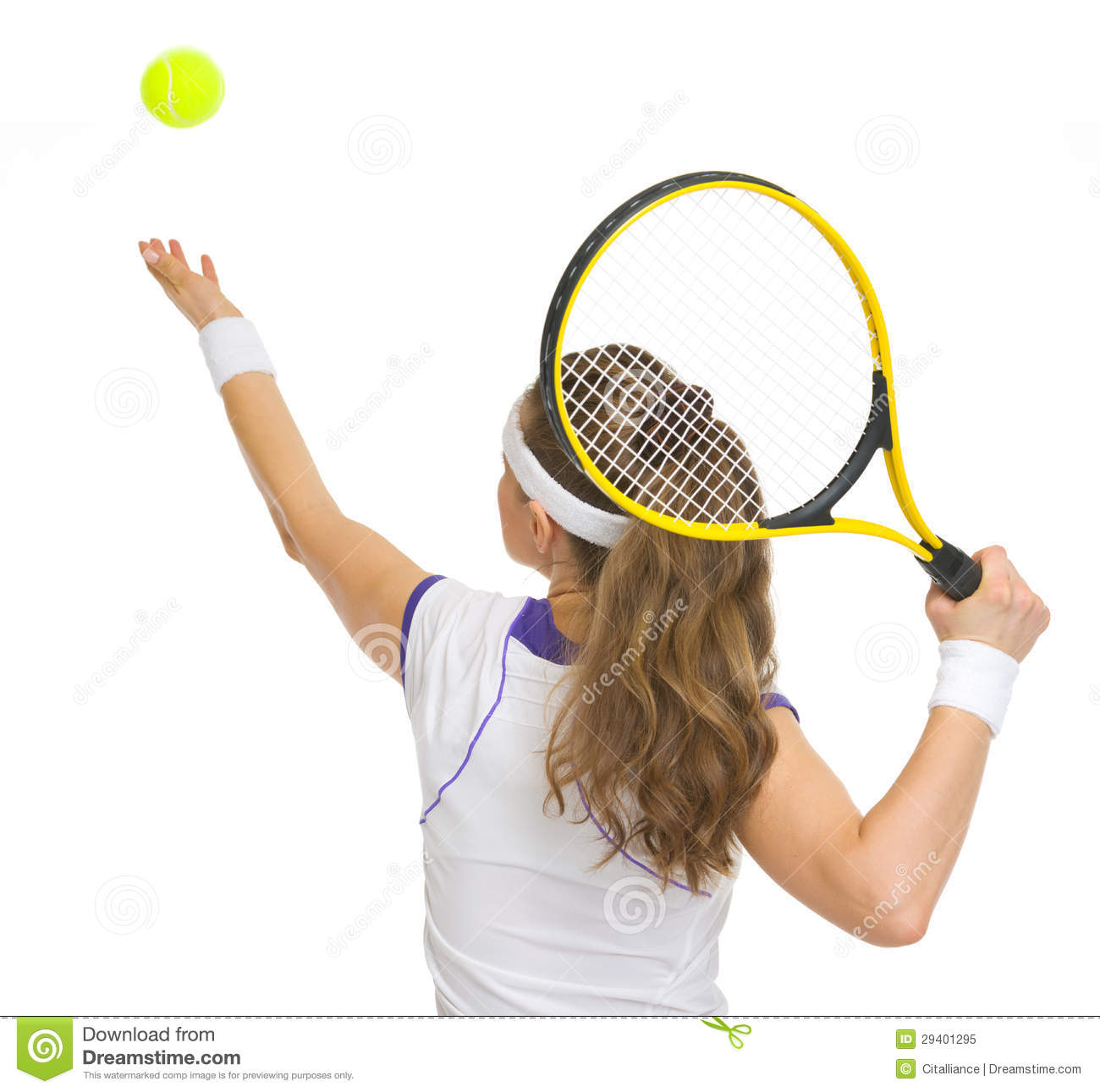 Tennis Player Serving Ball. Rear View Royalty Free Stock Photo - Image ...