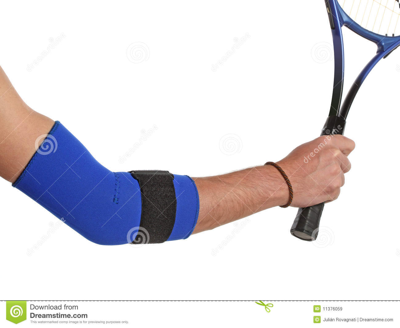 Tennis player wearing an elbow bandage