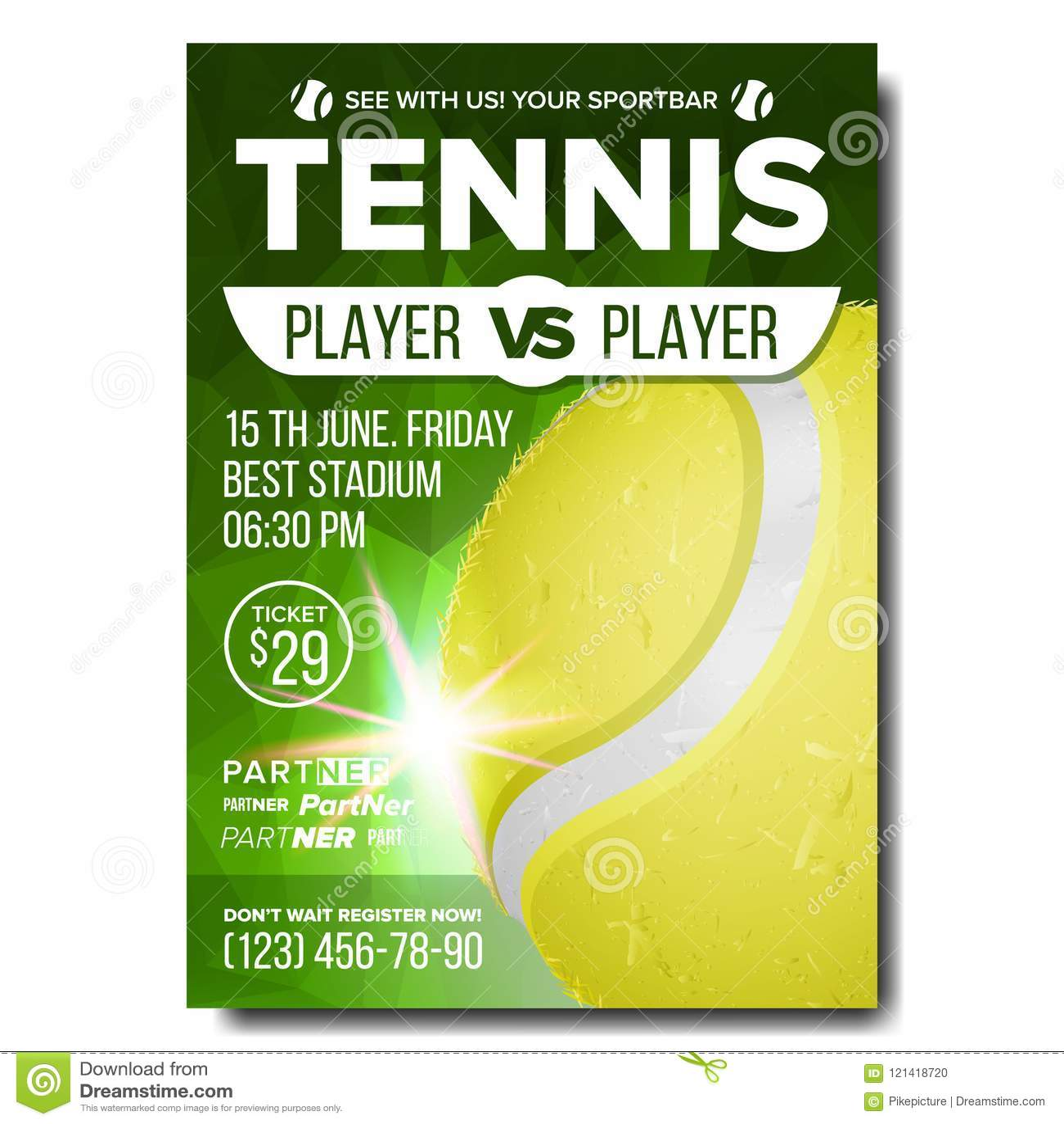 Tennis Poster Vector. Sports Bar Event Announcement ...