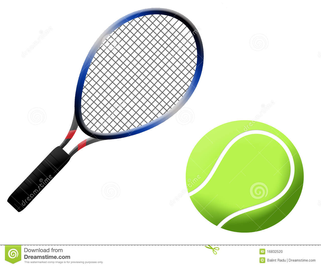Tennis racket and ball illustration, on white background.