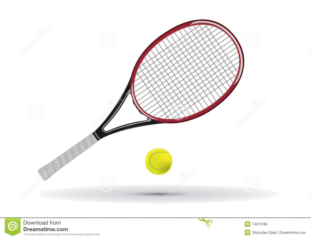 Tennis Racket And Ball Illustration Stock Photo - Image: 14973180