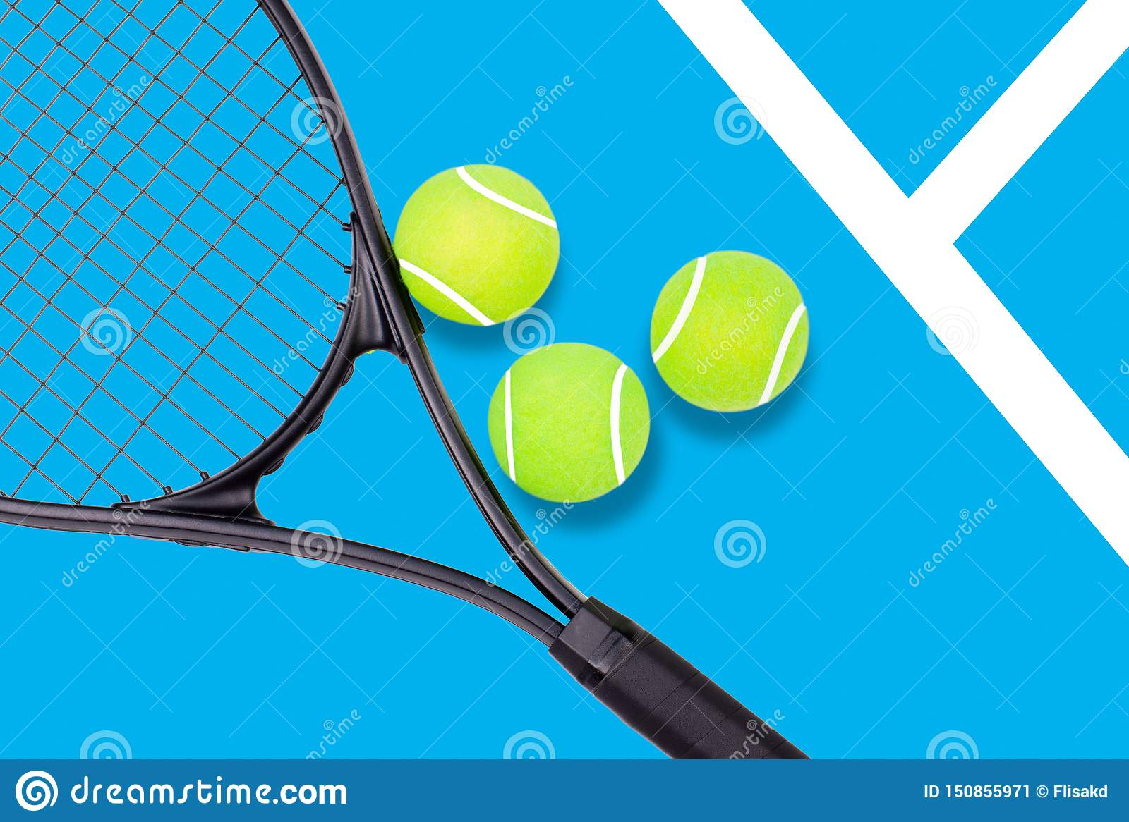 Tennis racket and ball sports on blue background