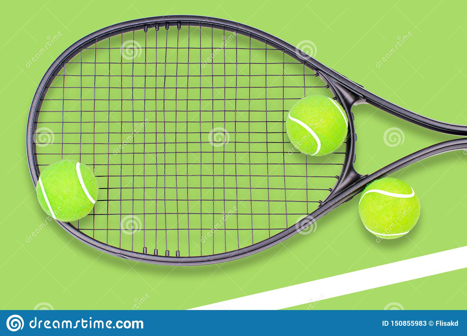 Tennis racket and ball sports on green background