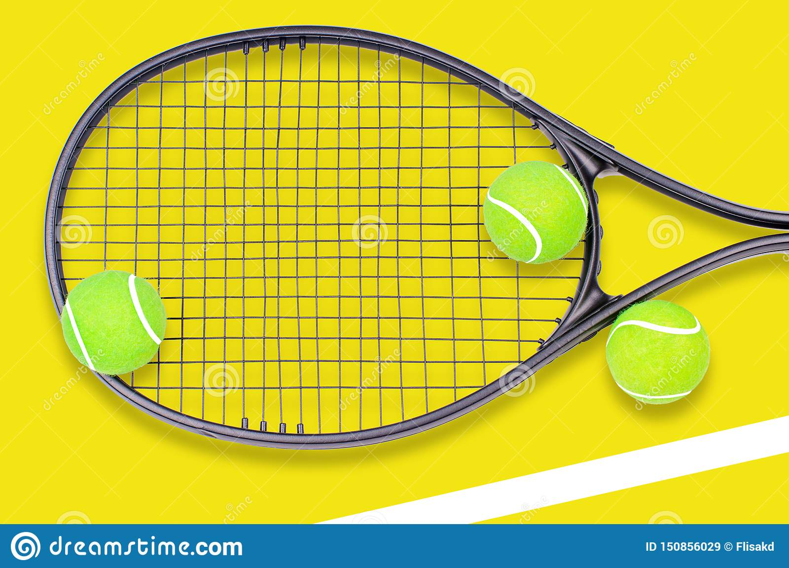 Tennis racket and ball sports on pastel background