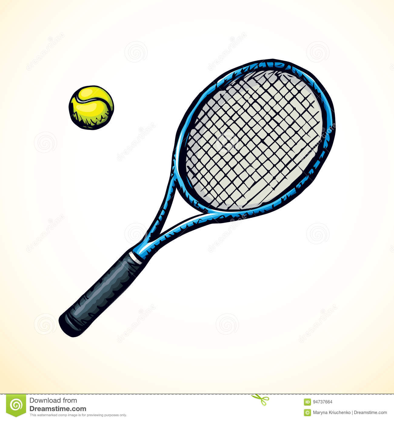 Tennis Racket And Ball Vector Drawing Stock Vector Illustration Of Match Backhand 94737664