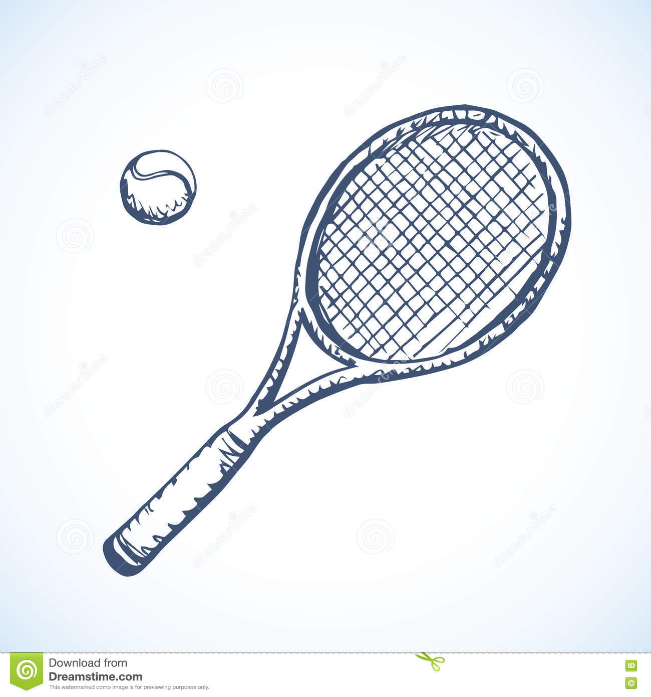 Tennis Racket And Ball Vector Drawing Stock Vector Illustration