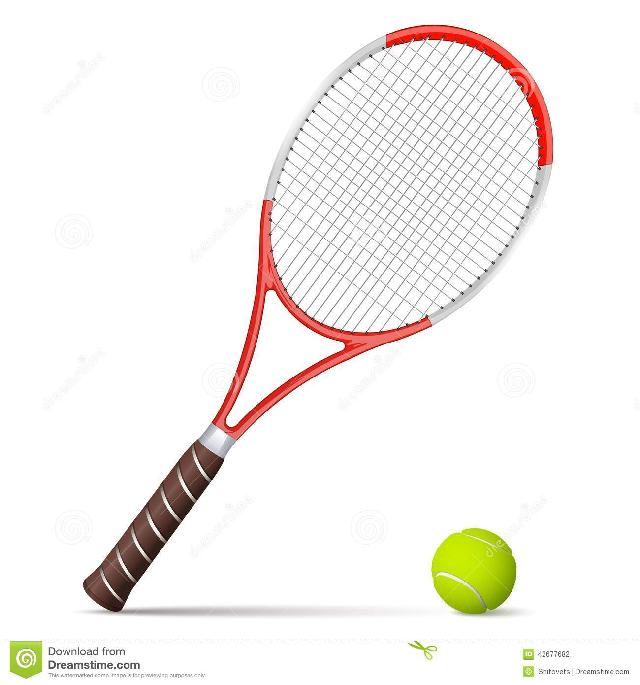 Tennis Racket And Ball On White Background Stock Vector