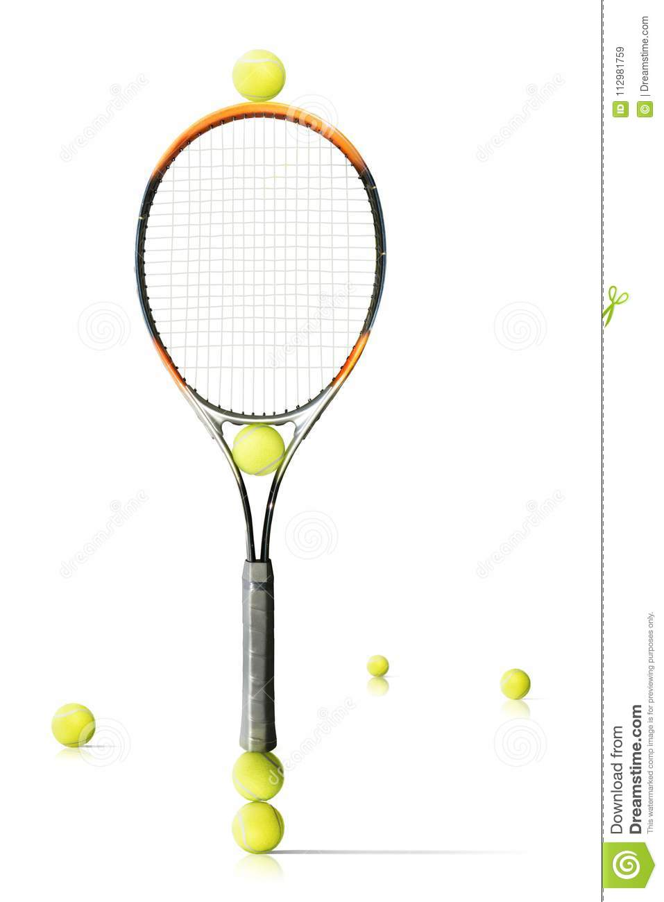 Tennis racket and balls is the white background