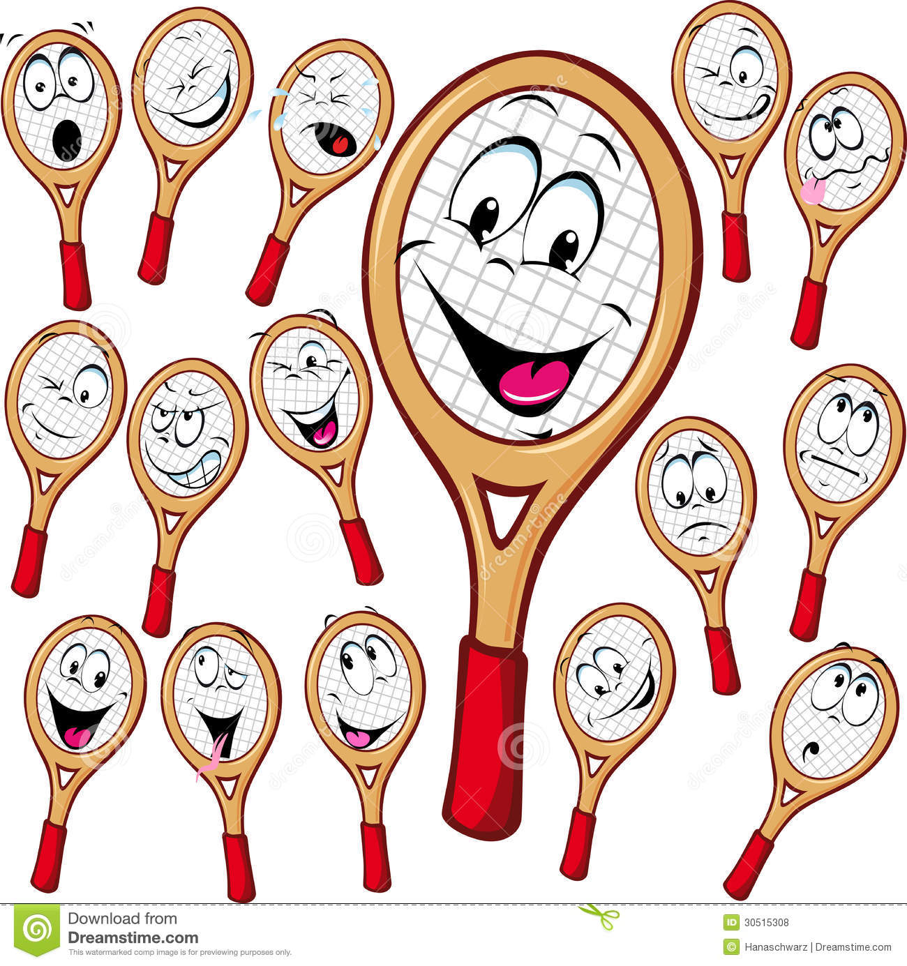 Tennis racket cartoon with many facial expressionsisolated on white ...