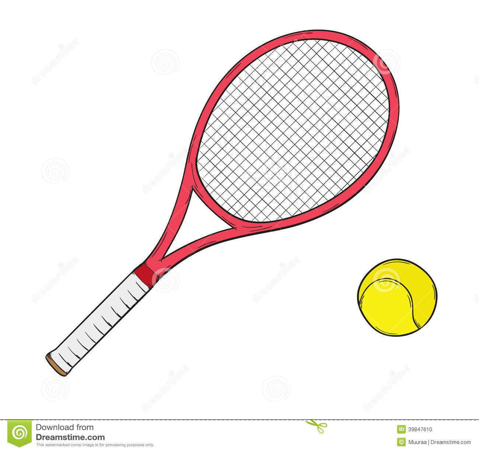 Ball Racket Sketch Tennis Stock Illustrations 545 Ball Racket