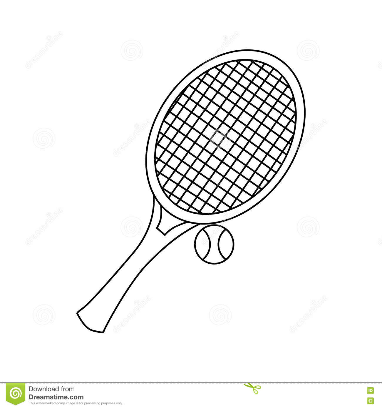 tennis racket with tennis ball icon outline style stock