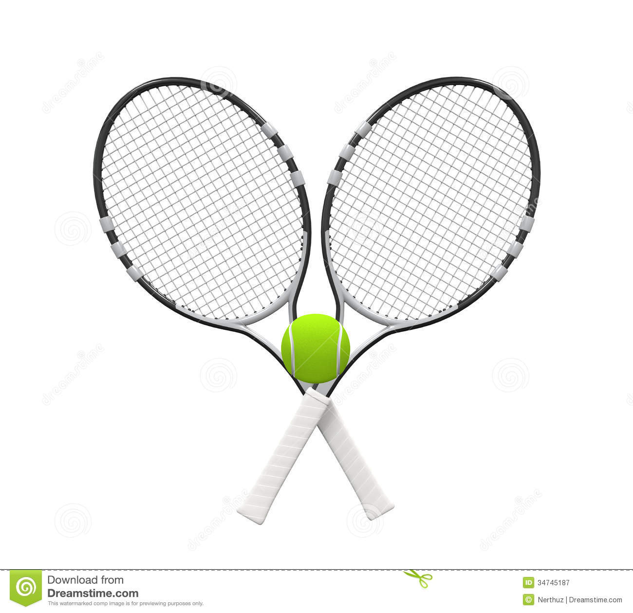 tennis rackets and ball stock illustration  illustration