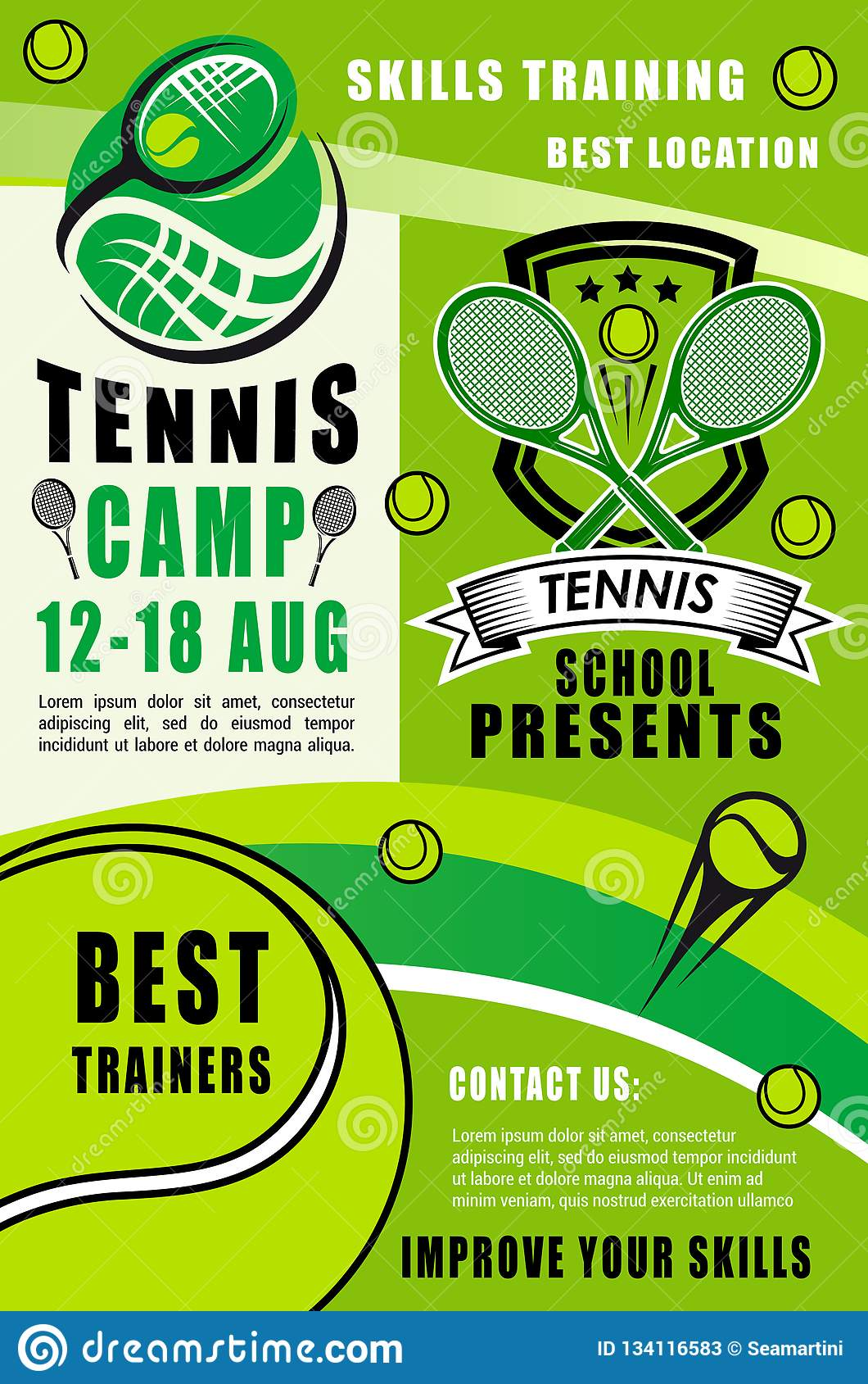 Tennis rackets and balls. Sport camp