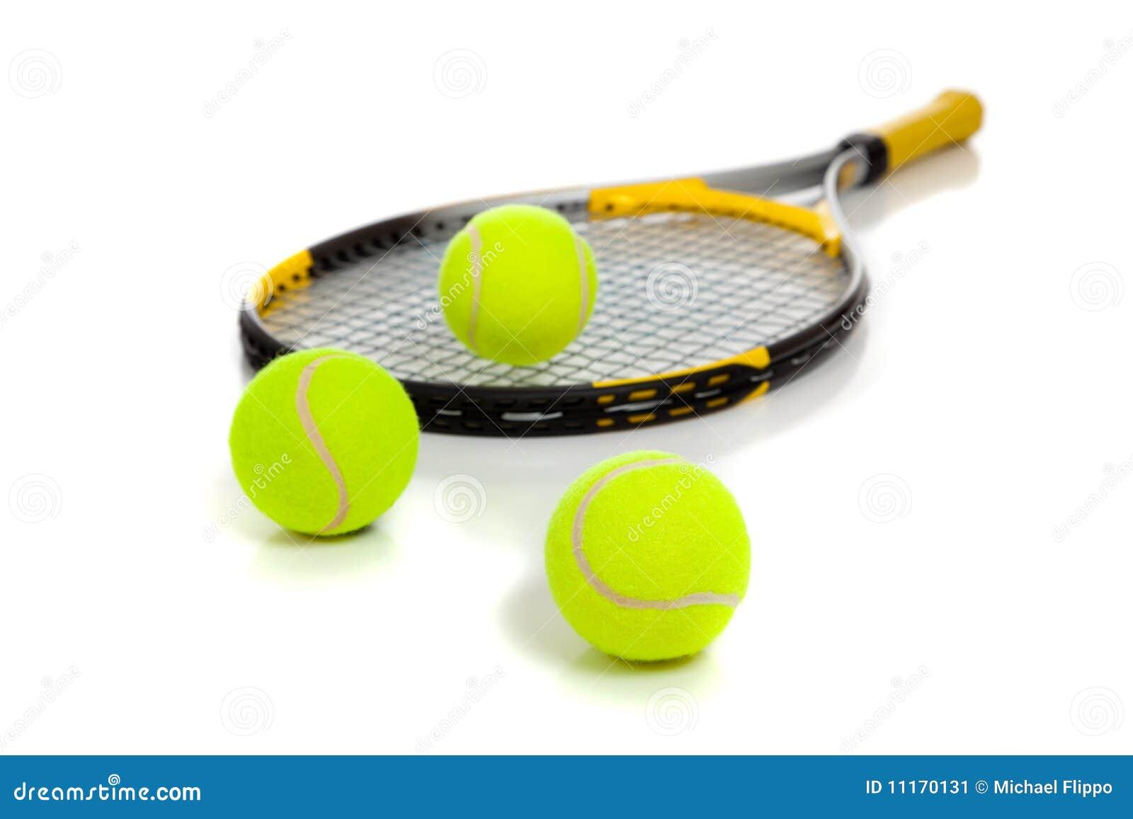 Tennis raquet with yellow balls on white
