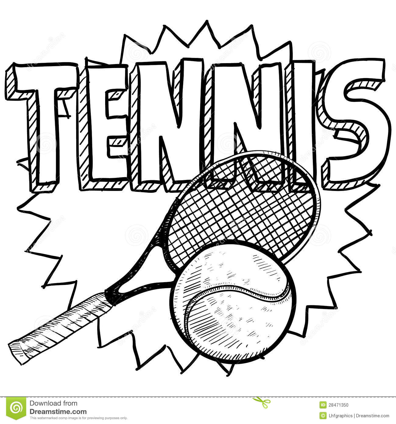 tennis sketch stock vector  illustration of doubles  doodle