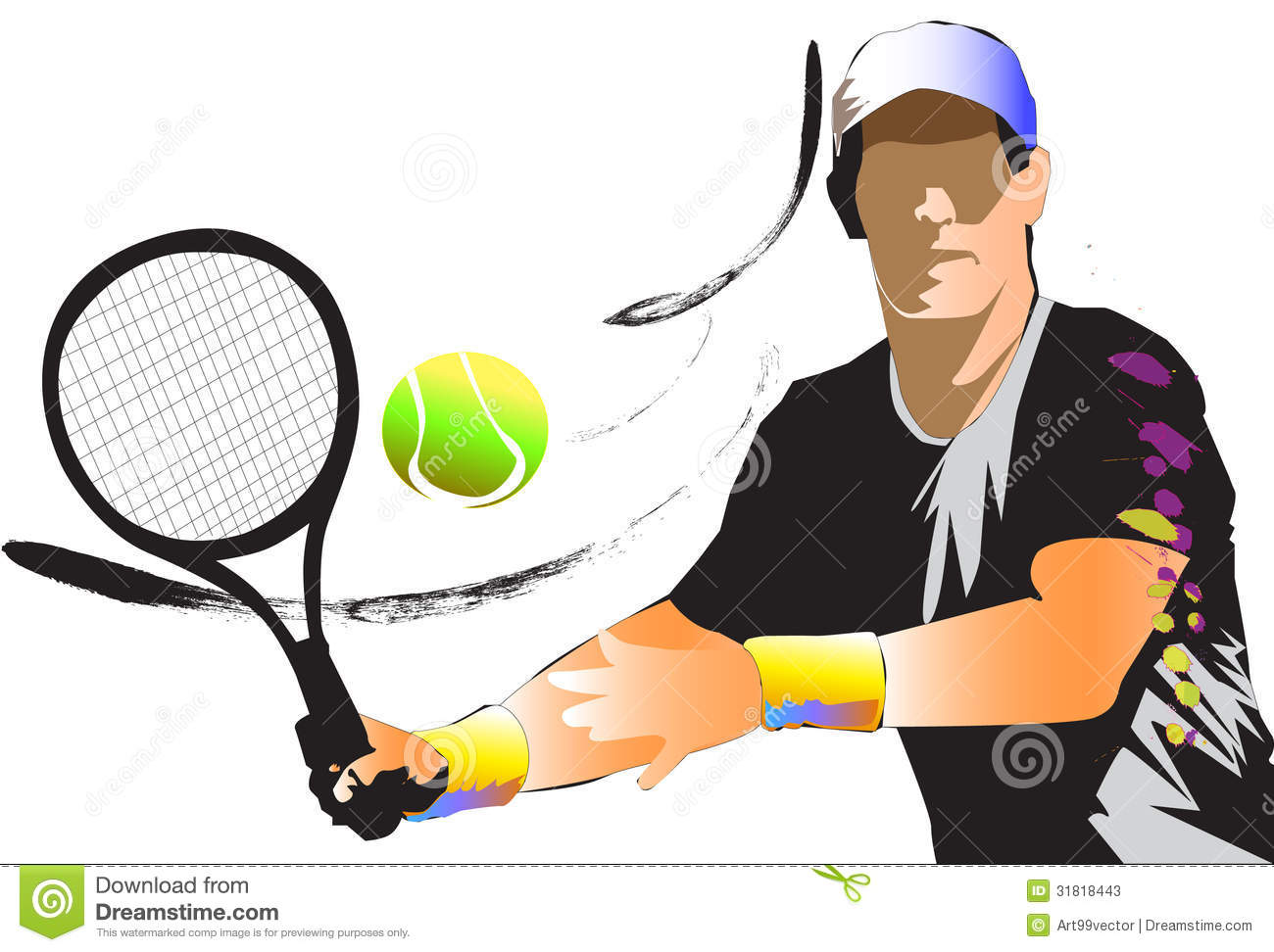 graphic image on a graphic stripes tennis.Athletic men. White ...