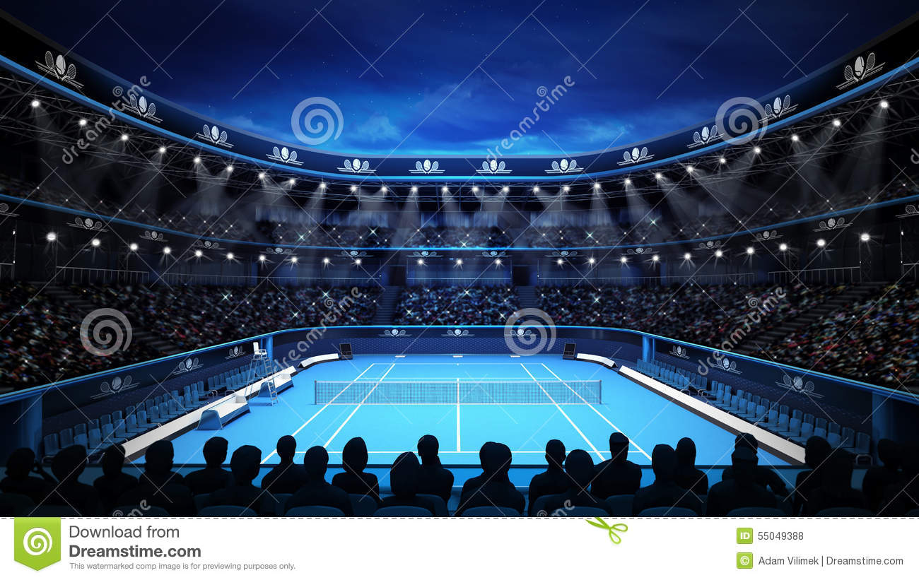 tennis stadium with night sky and spectators stock illustration