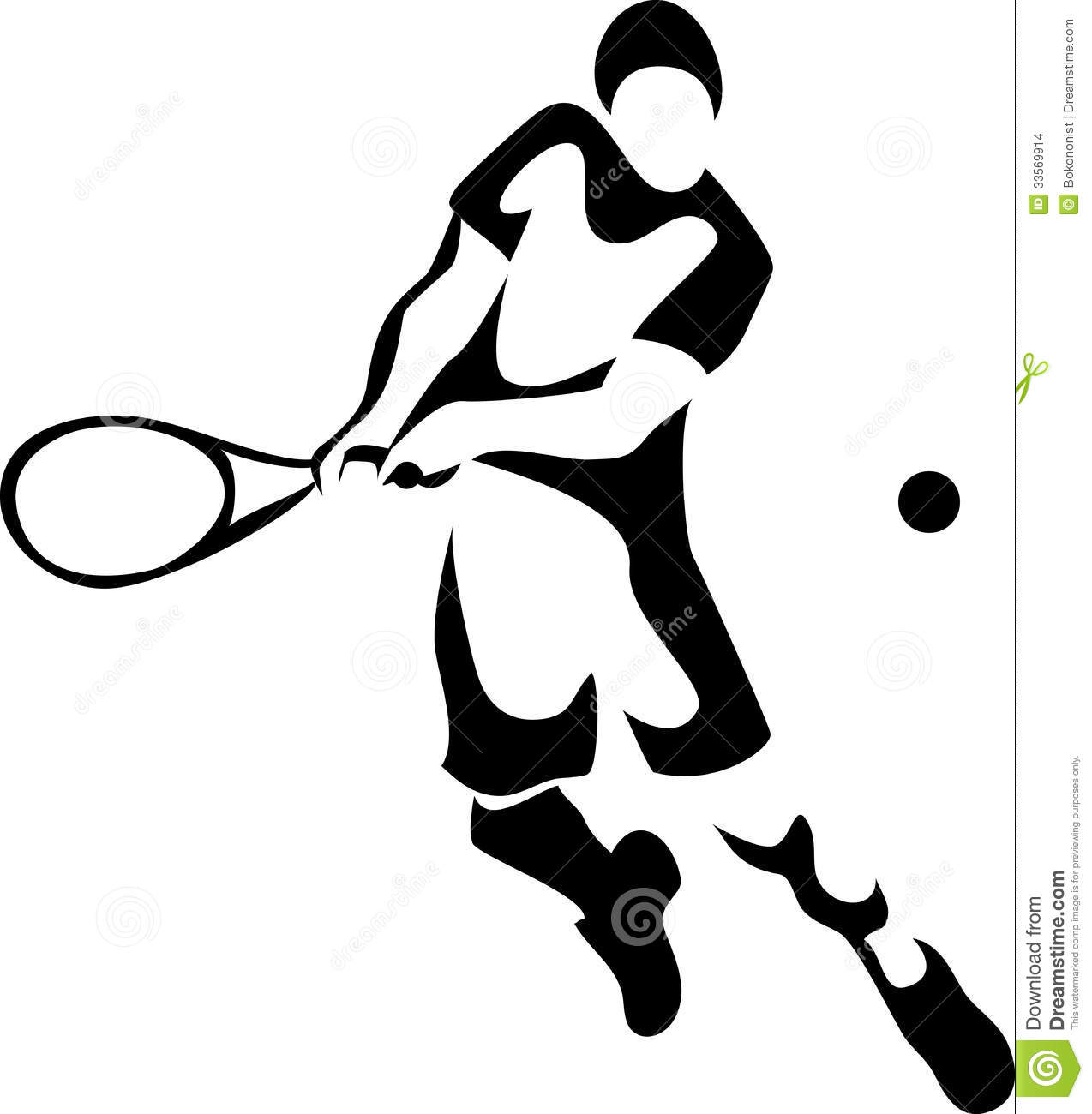 Stylized tennis player - black and white illustration.