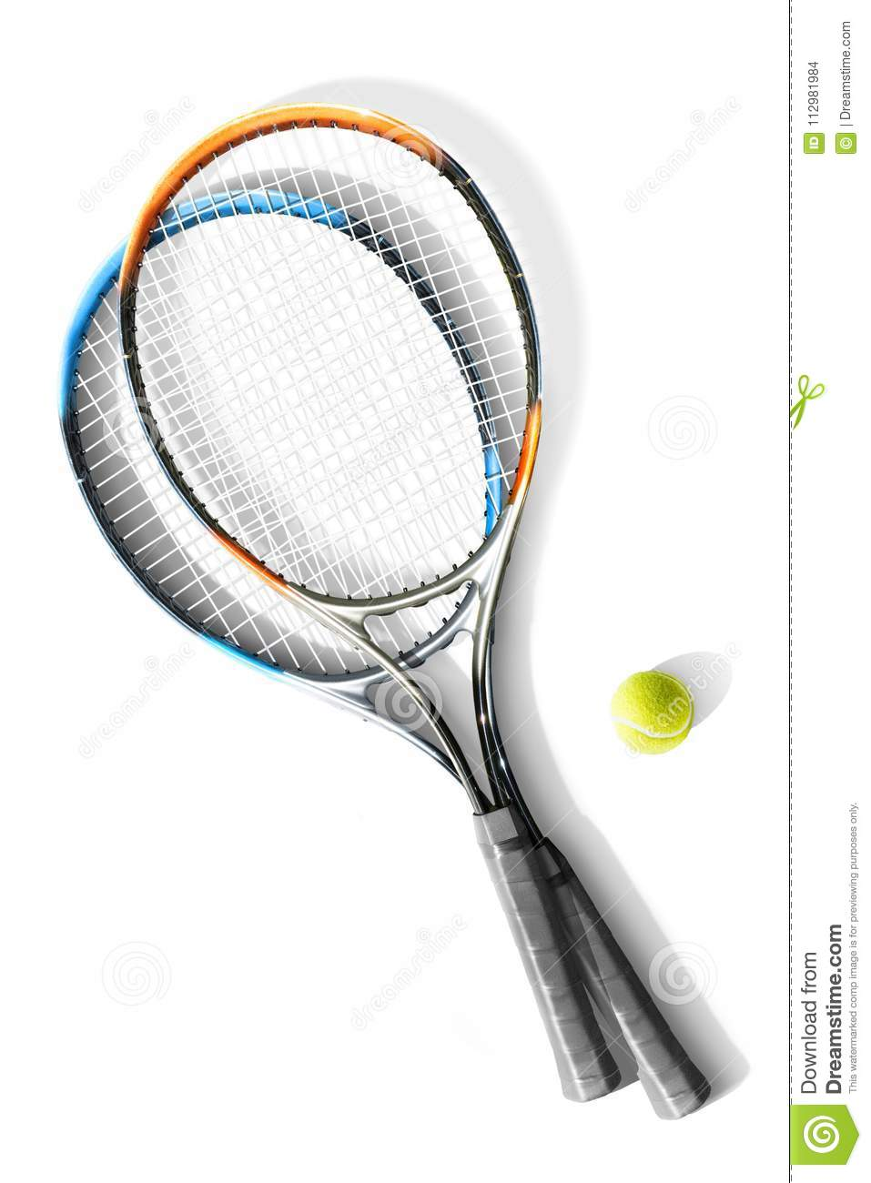Tennis. Tennis rackets and ball the white background. Isolated