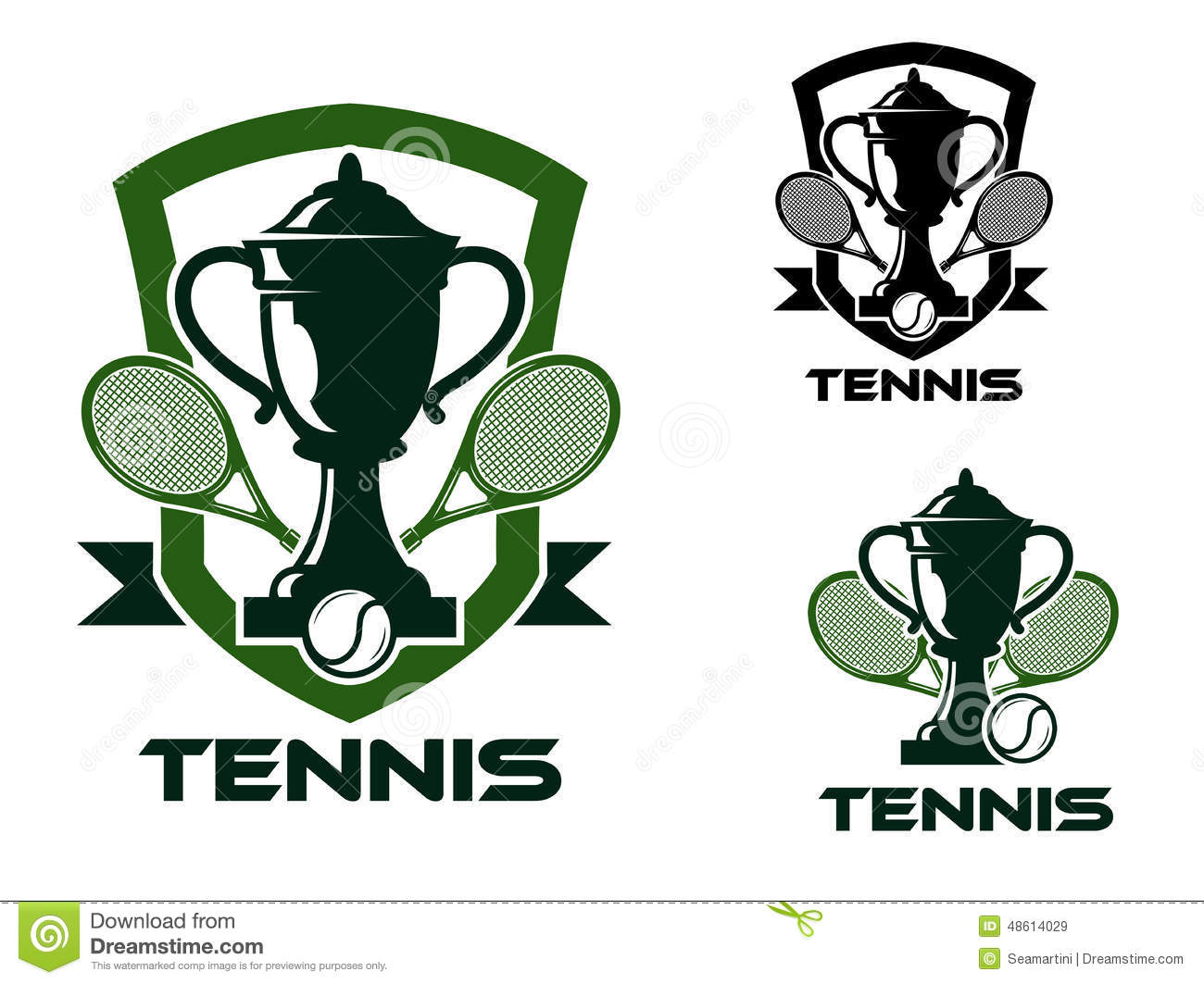 ... , balls, trophy cups and ribbon banners in green and black colors