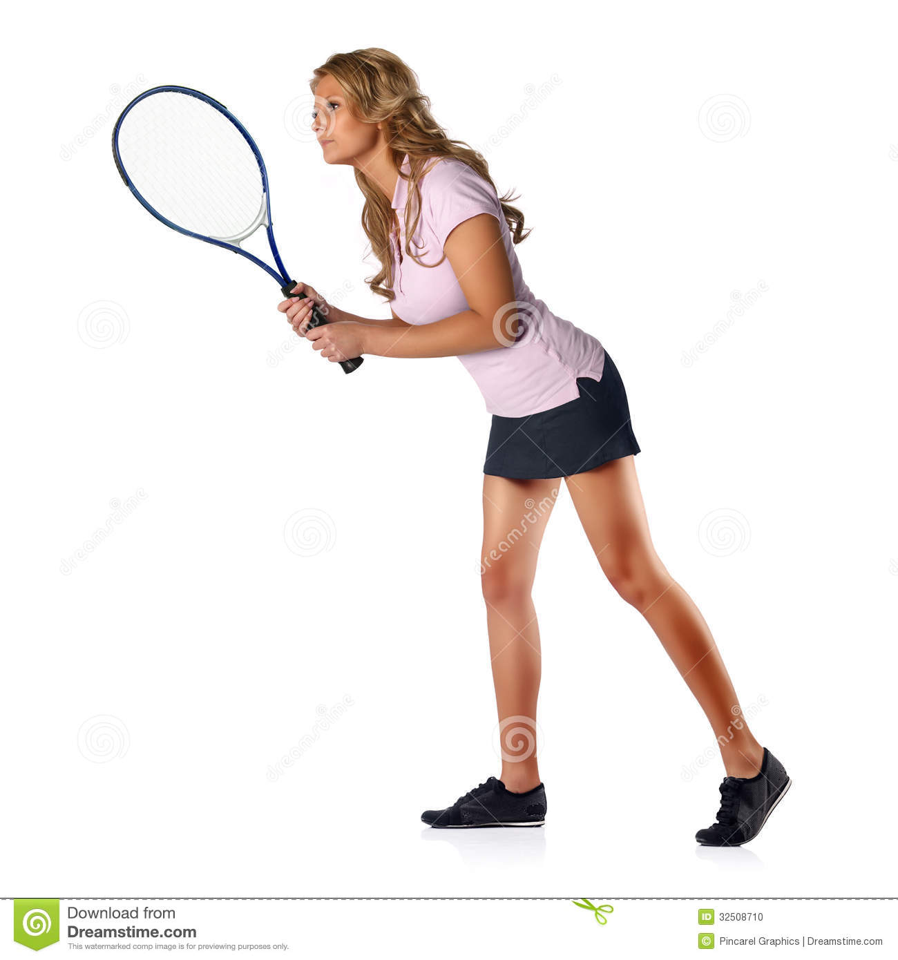 tennis woman awaiting serve stock photo - image of busty, leisure