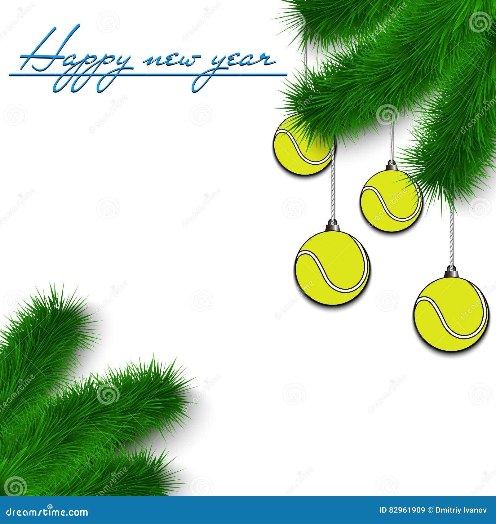 Weihnachtsbaum Ast.Tennisbälle Auf Weihnachtsbaumast Vektor Abbildung Illustration